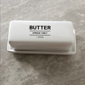 West Elm Utility Butter Dish Black and White